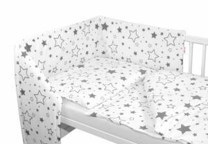 BABY NELLYS - Mantinel s obliečkami - Sivé hviezdy a hviezdičky - biely
