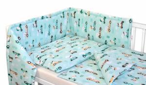 BABY NELLYS - Mantinel s obliečkami - Veselé závody - mätový, 135x100 cm