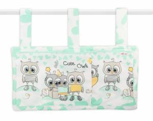 BABY NELLYS -  Vreckár na postieľku Cute Owls - zelený