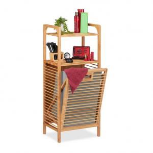 Bambusový regál do kúpeľne s košom na bielizeň RD6504