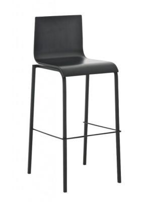 Barová stolička Avion s chrómovanou podnožou (Súprava 2 ks) čierna