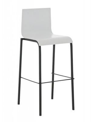 Barová stolička Avion s čiernou podnožou (Súprava 2 ks) biela
