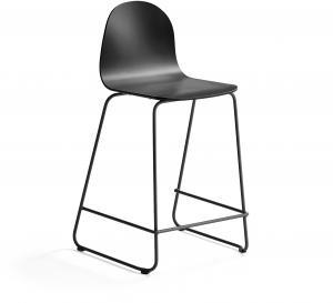 Barová stolička Gander, s klzákmi, výška sedu 630 mm, lakovaná, čierna