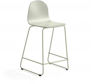 Barová stolička Gander, s klzákmi, výška sedu 630 mm, lakovaná, zelenošedá