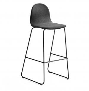 Barová stolička Gander, s klzákmi, výška sedu 790 mm, čalúnená, čierna