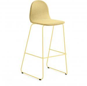 Barová stolička Gander, s klzákmi, výška sedu 790 mm, čalúnená, horčicová