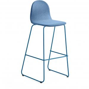 Barová stolička Gander, s klzákmi, výška sedu 790 mm, čalúnená, modrá