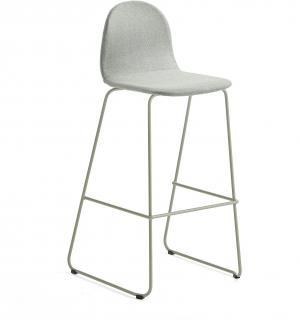 Barová stolička Gander, s klzákmi, výška sedu 790 mm, čalúnená, zelenošedá