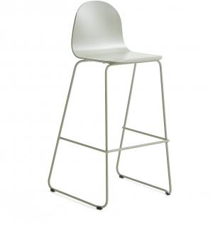 Barová stolička Gander, s klzákmi, výška sedu 790 mm, lakovaná, zelenošedá