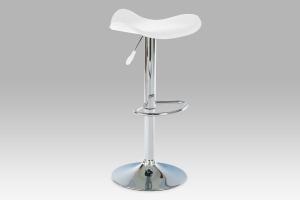 barová stolička, koženka biela/chróm