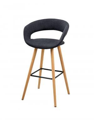 Barová stolička s drevenou podnožou Garry (Súprava 2 ks), tmavosivá