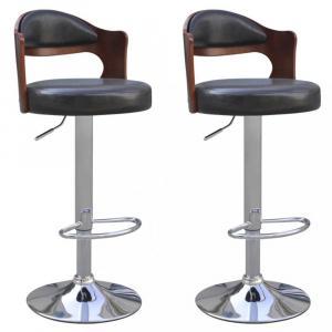 Barové stoličky 2 ks umelá koža / drevo / kov Dekorhome Čierna