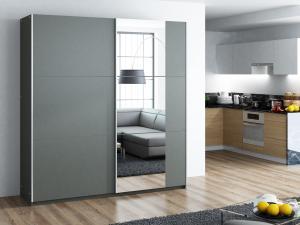 BASIA 200 šatníková skriňa s posuvnými dverami, grafit