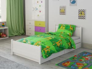 Bavlnené obliečky do postieľky Žirafa zelená