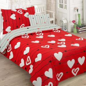 Bavlnené obliečky RED LOVE dvojdielna sada 140x200cm - 140 x 200 cm - 1x vankúš 1x prikrývka