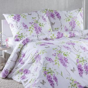 Bavlnené posteľné obliečky ORGOVÁN fialová predĺžená dĺžka