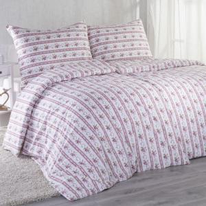 Bavlnené posteľné obliečky ROZÁLIE červená predĺžená dĺžka