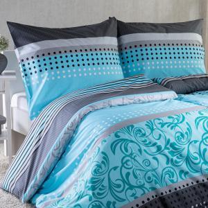 Bavlnené posteľné obliečky STACEY tyrkysovo-šedá predĺžená dĺžka