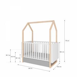Bellamy Detská postieľka domček / junior posteľ Pinette (3v1)