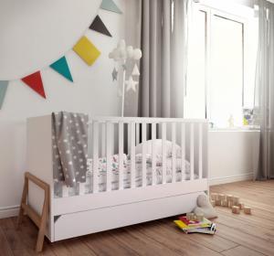 Bellamy Detská postieľka / posteľ Lotta so zásuvkou (3v1) Farba: Sivá