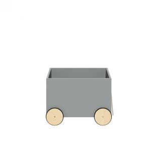 BELLAMY Lotta úložný box na kolieskach, matná šedá/drevo