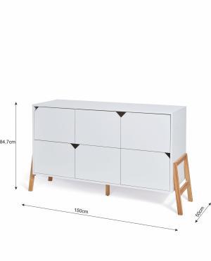 Bellamy Moderná komoda Lotta - 6 zásuviek (2 farby) Farba: Sivá