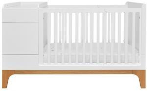 BELLAMY UP detská multifunkčná postieľka, matná biela/drevo
