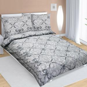 Bellatex Flanelové obliečky Mašľa sivá, 140 x 200 cm, 70 x 90 cm