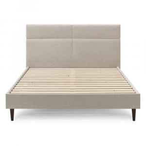 Béžová dvojlôžková posteľ Bobochic Paris Elyna Dark, 160 x 200 cm