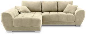 Béžová rozkladacia rohová pohovka so zamatovým poťahom Windsor & Co Sofas Nuage, ľavý roh
