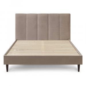 Béžová zamatová dvojlôžková posteľ Bobochic Paris Vivara Dark, 160 x 200 cm