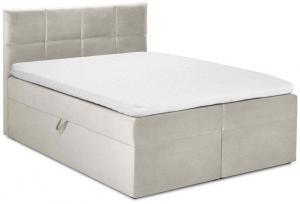 Béžová zamatová dvojlôžková posteľ Mazzini Beds Mimicry,200x200cm