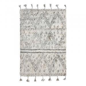 Béžovo-šedý ručne tkaný vlnený koberec Berber - 120 * 180 cm