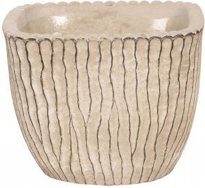 Béžový betónový obal na kvetináč s hnedými linkami - 13 * 13 * 11 cm