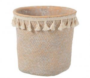 Béžový cementový kvetináč so strapcami Boho L - Ø 22,5 * 21,5 cm