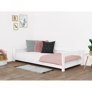 Biela detská drevená posteľ Benli Study, 90 x 160 cm