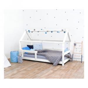 Biela detská posteľ s bočnicami zo smrekového dreva Benlemi Tery, 90 × 190 cm