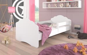 Biela detská posteľ so zábranou Juno 140x70 cm