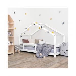 Biela drevená detská posteľ Benli Lucky, 90 x 200 cm