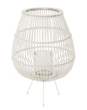 Biela drevená lampáš na nôžkach Daya L - Ø40 * 59 cm