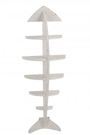 Biela drevená nástenná polica Fish - 35 * 18 * 102 cm