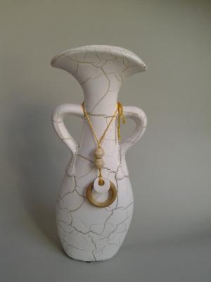 biela keramická dekoračná váza 31 cm