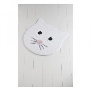 Biela kúpeľňová predložka Cat, ⌀ 90 cm
