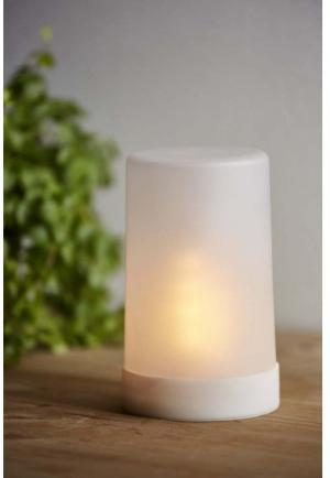 Biela LED vonkajšia svetelná dekorácia Star Trading Candle Flame, výška 14,5 cm