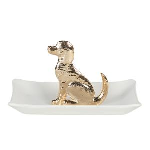 Biela miska so zlatým psom - 11 * 8 * 6 cm