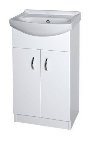 Biela skrinka EKO s keramickým umývadlom, 47 cm, dvierková