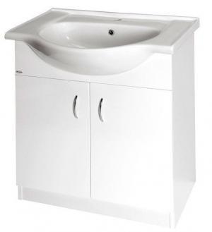 Biela skrinka EKO s keramickým umývadlom, 64 cm, dvierková
