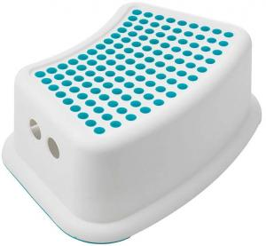 Biela stolička s modrými detailmi Addis Booster Step
