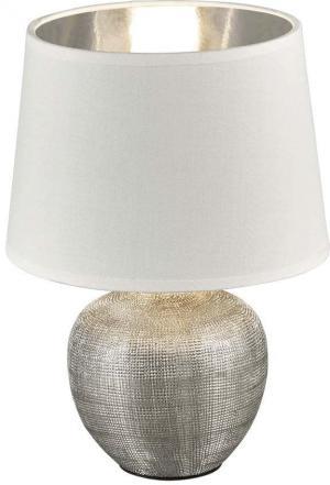Biela stolová lampa z keramiky a tkaniny Trio Luxor, výška 26 cm