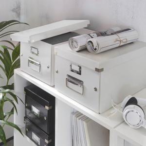 Biela úložná škatuľa Leitz Universal, dĺžka 37 cm